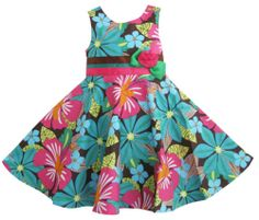 Girls Dress Green Flower Print Party Pageant Sundress Kids Clothes Size 2-8 New