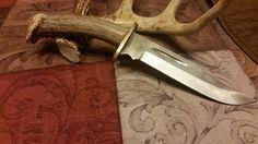 Deer Antler Handle Clip Point Blade Knife
