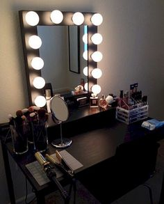Black Makeup Vanity Table With Lighted Mirror.Chende White Hollywood Makeup Vanity Mirror With Light . Lighted Vanity Mirror Table Home Design Ideas. Bedroom: Cozy Makeup Table Walmart For Modern In Bedroom .