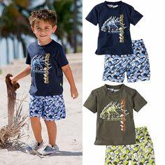 Summer Baby Kids Clothing Pure Cotton Cartoon Dinosaur Short Sleeve T Shirt + Beach Shorts Pants Boys Casual Set Children Suit Summer Shorts Outfits, Casual Summer Outfits, Short Outfits, Boy Outfits, Beach Outfits, Outfit Summer, Fashion Outfits, Cartoon Outfits, Kids Suits