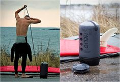 The Helio Pressure Shower features an 11 liter welded fabric water tank pressurized by a foot pump. To use it simply fill the tank, let it warm up in the sun, place it on the ground and use the foot pump to deliver the pressure you need to shower, clean dishes, rinse off gear or wash the dog