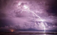 : Long Exposure Lightning Strike off the coast of Kuala Belait in Brunei