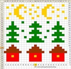 Viirukissan väkerryksiä: Mökkisukat Alpha Patterns, Stitch Patterns, Knitting Patterns, Pixel Crochet, Knit Crochet, Cross Stitch Christmas Cards, 123 Cross Stitch, Fair Isle Knitting, Knitting Charts