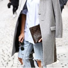 light gray trench blazer, destroyed light wash jeans, button up white shirt + round sunglasses