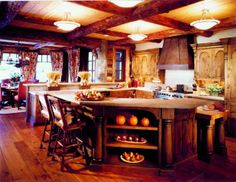 This rustic lodge style home was designed by Jill Sorensen along with RMT Architects, sited in Beaver Creek, a mountain village in Colorado.
