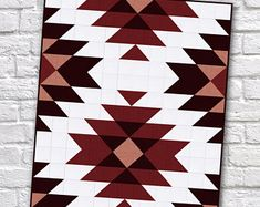 Modern Southwest Quilt Patterns - Sew What, Alicia? Modern Quilt Patterns, Quilt Patterns Free, Aztec Patterns, Simple Quilt Pattern, Southwestern Quilts, Motifs Aztèques, Geometric Quilt, Quilt Baby, Twin Quilt