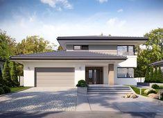 Projekt domu Korso 2 175,94 m² - koszt budowy - EXTRADOM Minimal House Design, Unique House Design, Dream Home Design, Contemporary House Plans, Modern House Plans, Country Backyards, Double Storey House, Beautiful House Plans, Home Building Design