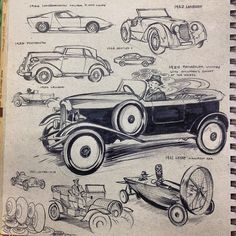 Love the drawing style of Reinier Gamboa - old vintage cars