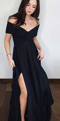 A Line Off the Shoulder Side Split Black Satin Black Long Prom Dresses  PG794  black 26a6fb6ab5e6