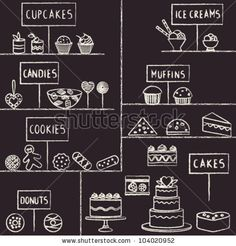 Hand drawn chalk stroked confectionery set on blackboard by Aleksandra Novakovic, via ShutterStock