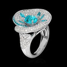 High Jewelry collection white Gold , Tourmaline Paraiba 2,00 ct., Tourmalines Paraiba, Diamonds Item no: R0205-1/1