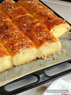 Jako jednostavna, mirisljava i fina! Sastojci: 500 gr kora za prvi fil: 3 veca jaja 3 kasike secera 1 solja (2 dl) ulja pola solje psenicnog griza 1 solja jogurta 1 kesica praska za pecivo za drugi fil: 1 l mleka 9 kasika secera 3 pudinga od vanile Priprema: Težina: Jednostavno 1 Najpre skuvati puding …
