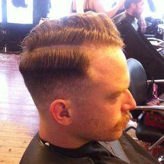 Hard part, 0 fade. #hair #haircut #menshair #oster #clippers #0fade #sidepart #pomade #vintagehair #redhead #curlyhair #hairstyle #hairstyli...