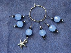 Blue Glass Black Silver Starfish Pendant 6 Beaded Knitting Stitch markers, Non-Snag, Snagless, Knit, handmade, Loop, Gift, Knitter, Snagfree