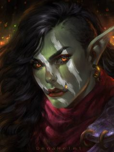 f Half Orc Ranger Med Armor Cloak Forest portrait Marzanna by DenaHelmi DeviantArt lg Fantasy Kunst, Fantasy Rpg, Fantasy Girl, Medieval Fantasy, Dungeons And Dragons Characters, Dnd Characters, Fantasy Characters, Fantasy Character Design, Character Creation