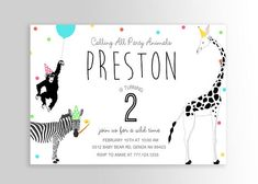Modern Simple Party Animal Invitation Wild Animal Party Zoo