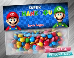 Super Thank You Mario Bag Topper by Kids Party DIY