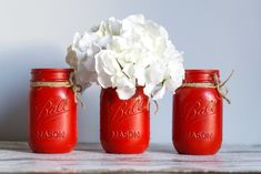Red Mason Jars, Rustic, Canning, Holiday Decor, Flowers, Country Primitive, Retro, Farmhouse Style, Primitives