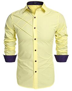 Coofandy Men's Fashion Slim Fit Dress Shirt Long Sleeve Casual Shirts Material:Cotton Style:Fashion,Casual The shirts size is USA size Brand:Coofandy,Made in Zeagoo Group Limited. Please check product description before ordering to ensure accurate fitting Best Casual Shirts, Slim Fit Casual Shirts, Slim Fit Dress Shirts, Formal Shirts For Men, Slim Fit Dresses, Fitted Dress Shirts, Shirt Dress, African Clothing For Men, African Men Fashion