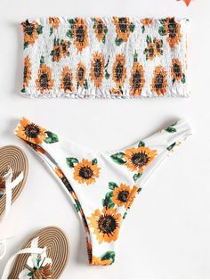 4684f0f648 Strapless Sunflower Smocked Bikini. Floral print throughout, this sexy two  piece bikini swimwear features