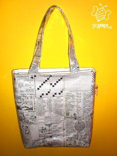 Borsa intrecci di carta, shopper con settimana enigmistica #riciclo #pvc #bag #banner #cruciverba, di SoReadyLAB