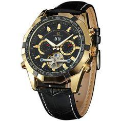 0e875ee7844 FORSINING Luxury Skeleton 2 Sub Dials Mechanical Men s Wrist Watch