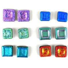 Handmade in Chile, these very cool square glass stud earrings measure around 10mm square and come in many different colors and designs. Each set of earrings may be slightly different in color and variation and completely one of a kind. Each item comes in a fair trade recycled paper jewelry box. In addition to helping support families in Chile, a portion of all sales goes towards our orphanage in Ghana.