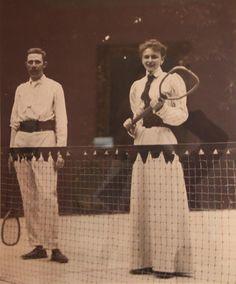 Archduke Franz Ferdinand of Austria and future wife Countess Sophie of  Chotek von Chotkow and Wognin, playing tennis.