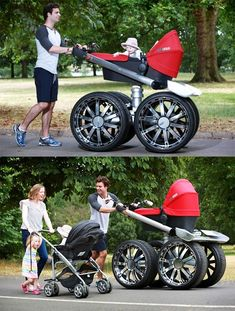 Some parents just can't find the right stroller for their child, so they have to go the custom way. Below are the world coolest baby strollers I've ever seen. Redneck Baby, Kids Boat, Tyres Recycle, Baby Carriage, Buy Buy Baby, Everything Baby, Baby Bedroom, Baby Hacks, Funny Cute