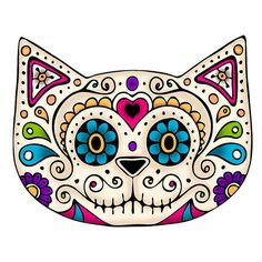 """""""Sugar Skull Cat"""" by Beth Wilson Sugar Scull, Sugar Skull Cat, Cat Skull, Sugar Skull Artwork, Mexican Skulls, Mexican Folk Art, Day Of The Dead Skull, Candy Skulls, Girly Tattoos"""