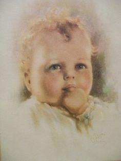 """Contentment"", Calendar Art Print of Little Curly Haired Boy, by American artist - Bessie Pease Gutmann (1876-1960)"