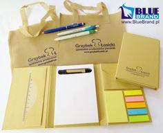 torby ekologiczne i notesy z niebieskim nadrukiem oraz długopisy biodegradowalne z nadrukiem kolorowym dookoła i długopisy B-Clicker Touch z grawerem - projekt i wykonanie www.BlueBrand.pl #BlueBrand #AgencjaReklamowa #reklama