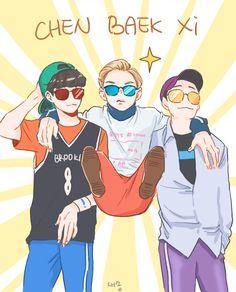 chen baek xi - the subgroup i was waiting for Kpop Exo, Exo Xiumin, K Pop, Exo Cartoon, Exo Stickers, Exo Anime, Exo Lockscreen, Exo Fan Art, Fandom