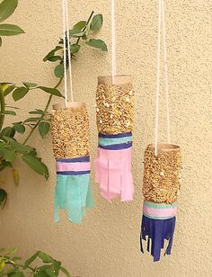 bird feeders toilet-paper-paper-towel-rolls.. would be a good craft for an outdoor ed camp