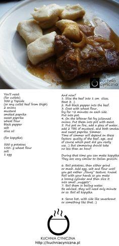 Beef cutlets in mustard sauce.  As a bonus - kopytka!;)