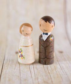 Peg Cake Topper  rustic wedding cake topper  by LovebirdsGoods