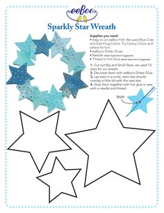 make your own sparkly star wreath with eeboo felt and glitter glue! Diy Christmas Star, Felt Christmas Decorations, Holiday Crafts, Christmas Holidays, Christmas Ornaments, Star Template, Felt Templates, Stars Craft, Navidad Diy