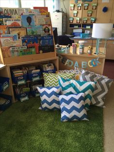 Classroom library and reading area- I really like the book display on top of the short book shelf!