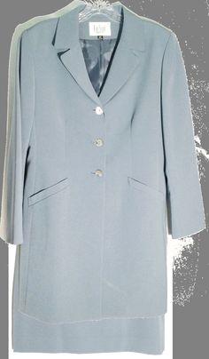 LE SUIT PETITES Slate Blue Skirt Suit -Longer Jacket/Blazer -Straight Skirt -12p #LeSuit #SkirtSuit #suit #skirt #jacket #blazer #blue #slateblue #petite #12P