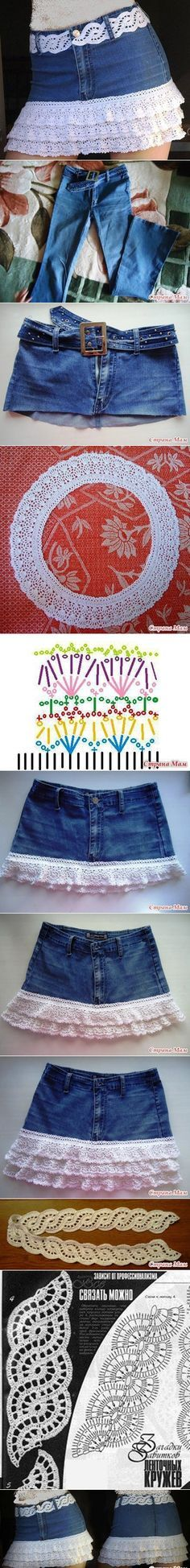 DIY Crochet layered Skirt from Old Jean | www.FabArtDIY.com LIKE Us on Facebook ==> https://www.facebook.com/FabArtDIY
