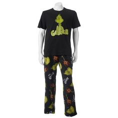 Men's Dr. Seuss Mr. Grinch Tee & Pants Loungewear Set, Size: