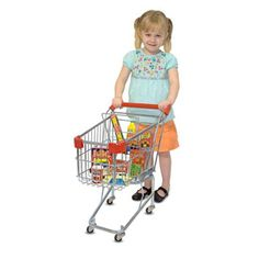 $69.99 - Create a supermarket whenever and wherever you want to experience pretend play with the Melissa & Doug Metal Grocery Cart Toy! • This realistic Metal Grocery Cart Toy is based on the real cart kids see in stores, which takes pretend grocery play to a whole new level of realism for the most imaginative of children!• This Metal Grocery Cart Toy features• A sturdy metal frame with a standard large-size cart basket• A folding metal seat to hold dolls while shopping• Protectiv...