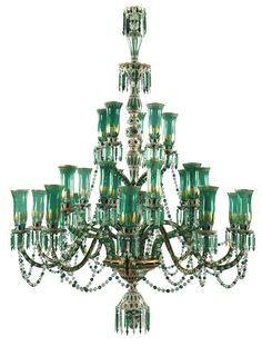 A fine ornate enamelled overlay ten light osler chandelier in a pair of green glass chandeliers for the indian market bohemia 20th century lot aloadofball Gallery
