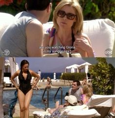 Claire, Phil and Gloria Modern Family tv show Funny quotes Modern Family Season 1, Modern Family Memes, Modern Family Tv Show, Family Jokes, Morden Family, Tv Show Quotes, Best Tv Shows, I Laughed, Movie Tv