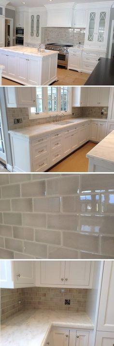 Search for Mortgage Rates: Please wait... Glass Tile Kitchen Backsplash, Gray Subway Tile Backsplash, Backsplash Ideas, Tile Ideas, Kitchen Flooring, Subway Tiles, Subway Tile Colors, Ceramic Subway Tile, Kitchen Reno