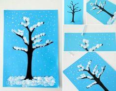 winter basteln kindern schnee fingerabdrücke baum ohrenstäbchen wattestäbchen
