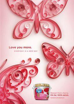Jitesh Patel - Alpina Yogurt ad by all things paper, via Flickr...quilled butterflies...sweet designs...