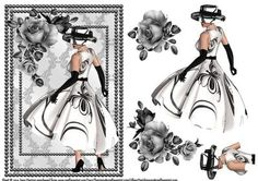 Elegant Lady In Monochrome on Craftsuprint designed by June Harrop - A quick and easy to make A5 card front with extra piecesto decoupage. - Now available for download!