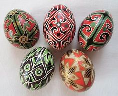 5 Real Ukrainian hand made Pysanky Easter Eggs Ukraine Pisanki Pysanka egg shell