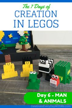 the 7 days of creation in legos - day 6 man & animals